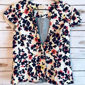 Anthropology Elevenses Cap Sleeve Floral Jacket.